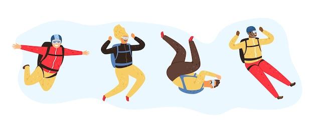Fliegende leute. fallender mann frau. glückliche männliche weibliche vektorzeichen des freien falls