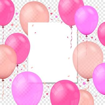Fliegende luftballons papierbanner und konfettipartikel auf transparentem hintergrund