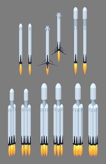 Fliegende moderne lowpoly isometrische weltraumrakete