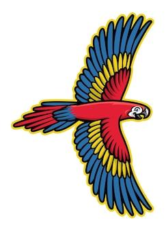 Fliegende papagei vogel maskottchen logo