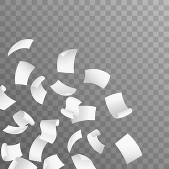 Fliegende papierbögen. auf transparentem hintergrund isoliert. realistische 3d detaillierte weiße leere leere fliegende papiere.