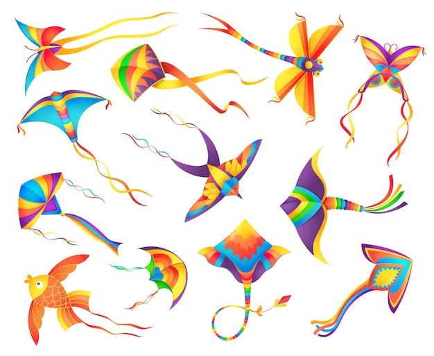 Fliegende papierdrachen verzierten bunte bänder gesetzt
