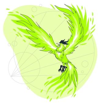 Fliegende phönix-konzeptillustration