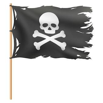 Fliegende piratenflagge isoliert auf weiß