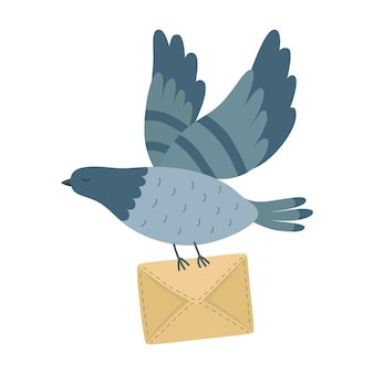 Fliegende posttaube mit einem buchstaben auf hintergrund isoliert. freie taube mit umschlag. symbol für die zustellung der luftpost. flache cartoon-vektor-illustration. retro-nachricht gesendet.