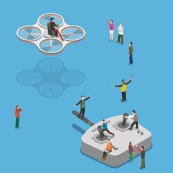 Fliegende quadcopter illustration