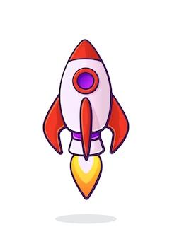 Fliegende rakete raumschiff mit flamme von turbine space ship shuttle transport vector illustration