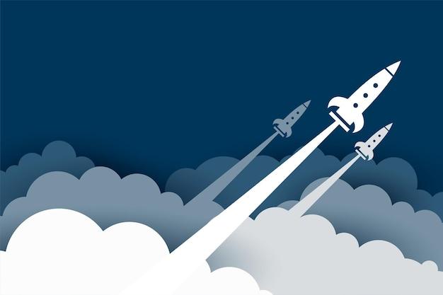 Fliegende rakete über den wolken im scherenschnitt-stil