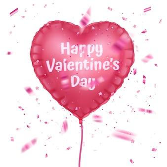 Fliegende realistische glänzende ballongrußkarte für glücklichen valentinstag