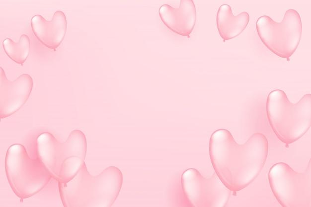 Fliegende rosa ballone auf rosa hintergrund. valentinsgruß `s tag und mutter` s tagesfeierkartenschablone