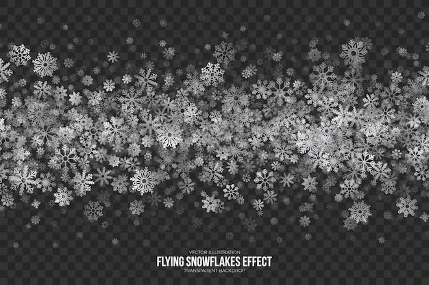 Fliegende schneeflocken effekt transparent