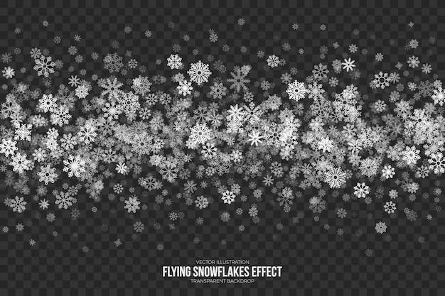 Fliegende schneeflocken-effekt
