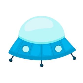 Fliegende untertasse. ufo. kinderspielzeug. symbol auf weißem hintergrund. für ihre gestaltung.
