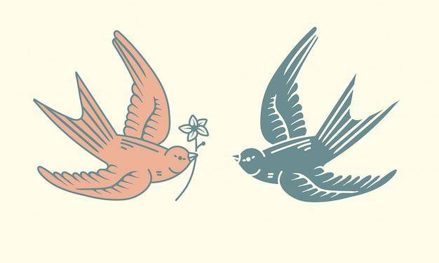 Fliegende vögel logo design assets, einfacher vogel mit einer blumenikone in einfachen vintage hand gezeichneten stil. grafische gestaltungselemente