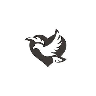 Fliegende vogel taube taube flügel verbreiten und herz liebe friedenssymbol symbol logo design