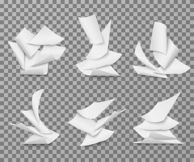 Fliegende weiße blankopapierblätter. stapel des dokumentseiten-vektorsatzes lokalisiert
