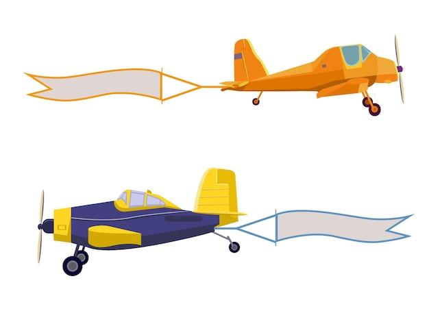 Fliegende werbebanner gezogen von leichten flugzeugen landwirtschaftliche flugzeuge isoliert auf weißem hintergrund
