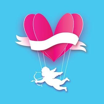 Fliegender amor - kleiner engel. liebe rosa herz im papierschnittstil