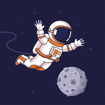 Fliegender astronaut im weltraum