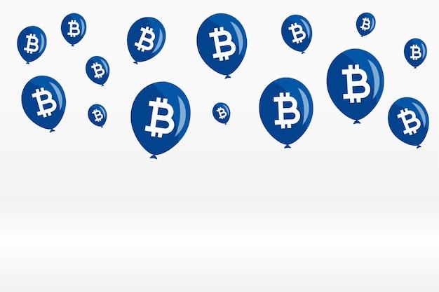 Fliegender bitcoin-ballon-konzepthintergrund