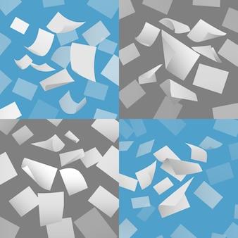 Fliegender blankopapier bedeckt vektorsatz