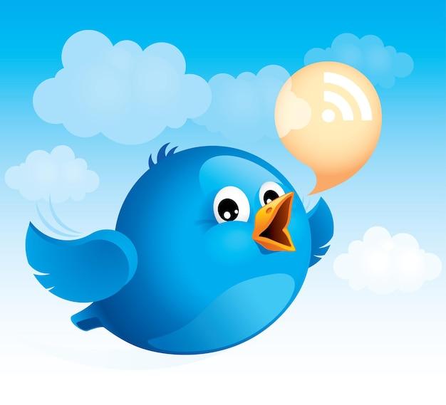 Fliegender blauer vogel mit rss-sprechblase