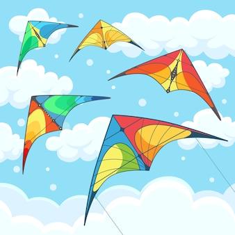 Fliegender bunter drachen im himmel mit wolken auf hintergrund.