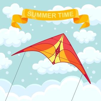 Fliegender bunter drachen in den himmel mit wolken. sommerfest, urlaub, ferienzeit. kitesurf-konzept