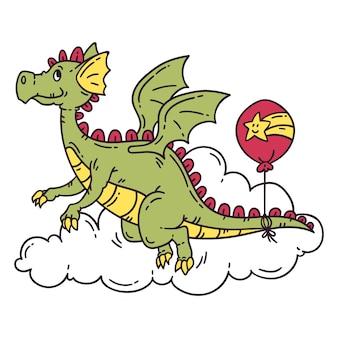 Fliegender drache mit ballon.