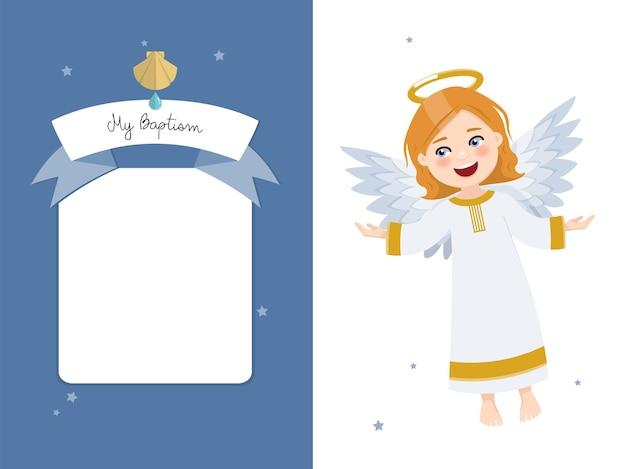 Fliegender engel. horizontale einladung der taufe auf einladung des blauen himmels und der sterne.