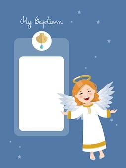Fliegender engel. taufeinladung mit nachricht auf blauem himmel und sternenhintergrund. flache illustration