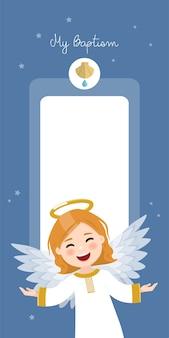 Fliegender engel. vertikale einladung der taufe auf einladung des blauen himmels und der sterne. flache illustration