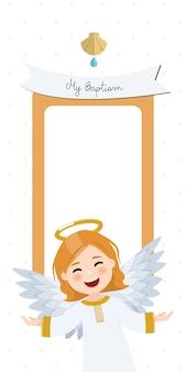 Fliegender engel. vertikale einladung der taufe mit nachricht. flache illustration