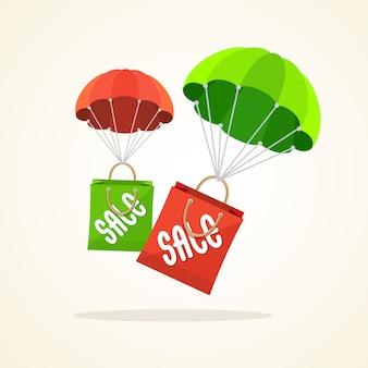 Fliegender fallschirm mit papiertütenverkauf. saisonale rabatte frühling, sommer.