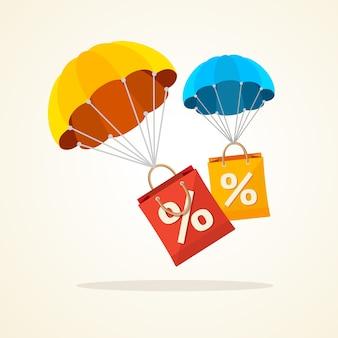 Fliegender fallschirm mit papiertütenverkauf. saisonale rabatte herbst, winter.