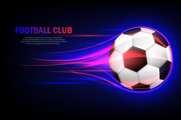 Fliegender fußball. fußballverein. flammender fußball 3d