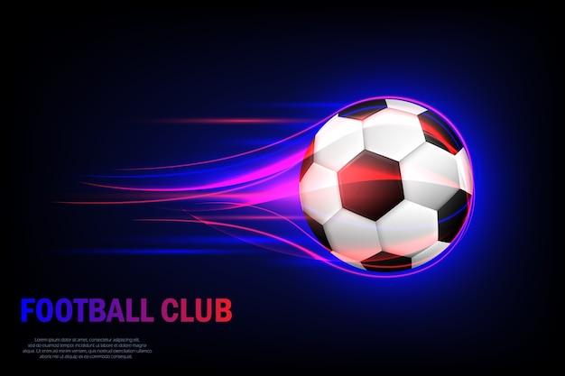 Fliegender fußball. fußballverein. karte für fußballverein mit fliegendem fußball