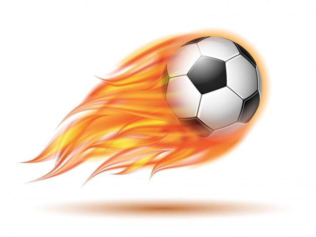 Fliegender fußball oder fußball in flammen.