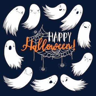 Fliegender geist des geistes, glückliches halloween. gruselige weiße geister. niedliche gruselige karikaturfigur. lächelndes gesicht. grußkarte. flaches design. set illustration