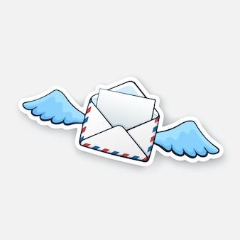 Fliegender geöffneter briefumschlag mit flügeln eingehende nachricht wurde gelesen vektorillustration
