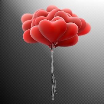 Fliegender haufen roter herzballon.