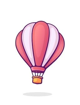 Fliegender heißluftballon mit rosa und weißen streifen cartoon-vektor-illustration