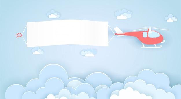 Fliegender hubschrauber mit leerem werbebanner
