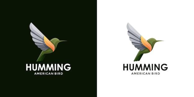 Fliegender kolibri mit modernem logo-design