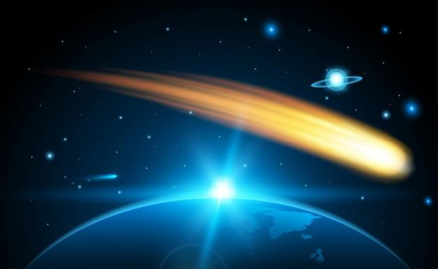 Fliegender kosmischer meteor, planetoid, komet, feuerball.