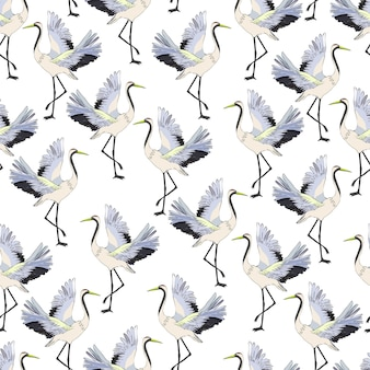 Fliegender kran nahtlose muster