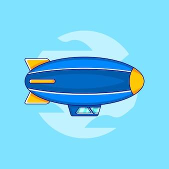 Fliegender luftschiff-vektor in der flachen design-illustration