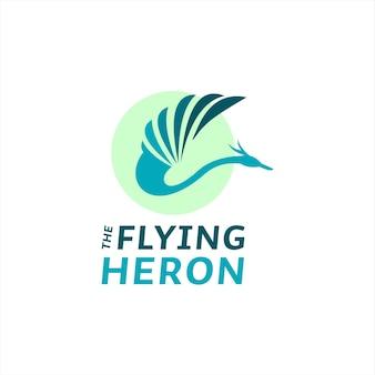 Fliegender reiher-logo einfacher moderner vogelvektor