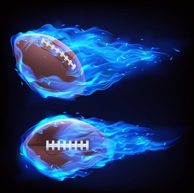 Fliegender rugbyball im blauen feuer