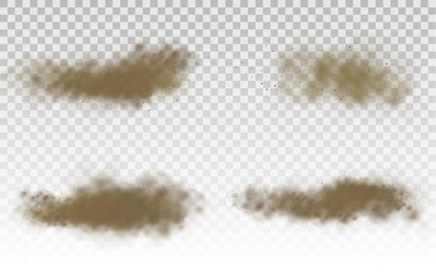 Fliegender sand, braune, staubige straßenwolke oder trockener sand, der mit einer windböe sandsturm fliegt